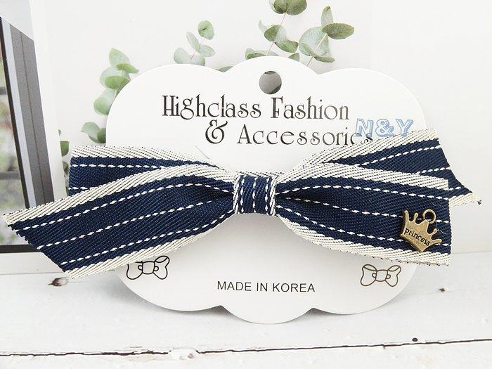 韓國優雅皇冠蝴蝶結髮夾邊夾頂夾髮飾HA99 多色 ☆【N&Y】【現貨】