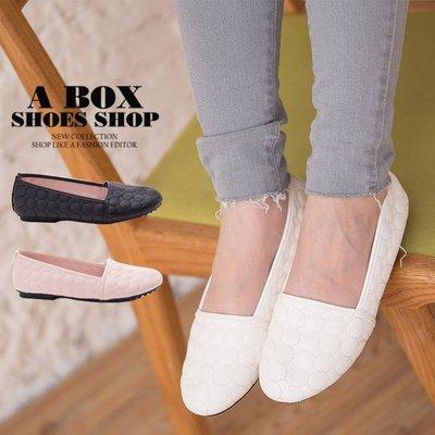 格子舖*【AW522】零碼36 MIT台灣製 簡約素面圓圈車線皮革 舒適豆豆鞋 圓頭包鞋
