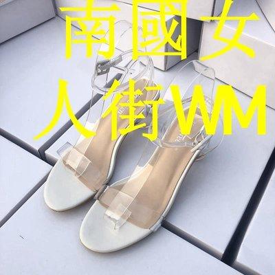 南國女人街WM咨詢有驚喜!超軟透明一字帶涼鞋女夏性感甜美氣質中跟鞋粗跟涼鞋