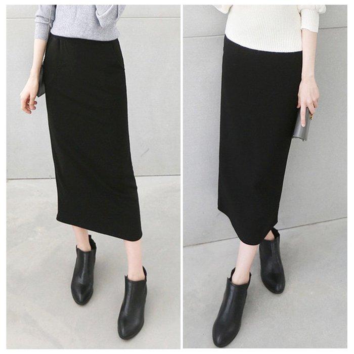 【Hao Da】全館399免運↘「M~XL。現貨」彈力刷毛 縮腰 口袋 合身 長裙 (P1047)