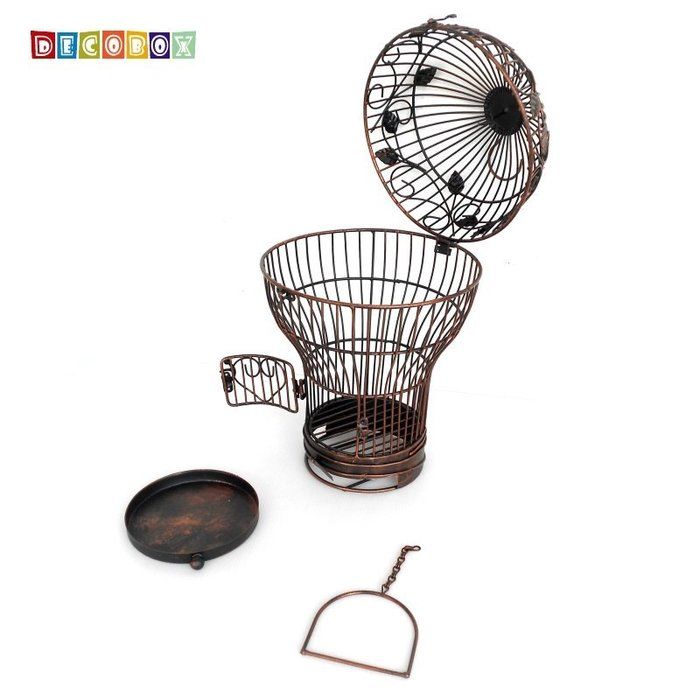 DecoBox燈泡古銅小花架(鳥籠,燈泡花架,園藝,花台,花插,鍛鐵展示架)