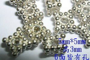 琥珀貓~【925純銀材料配件】造型方珠~扁正方珠~一個