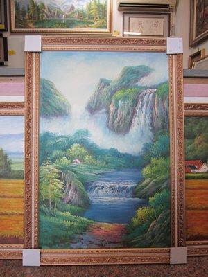 『府城畫廊-手繪油畫』山水畫-聚財湖-招財風水圖-72x102-(含框價)-有實體店面-請查看關於我聯繫-