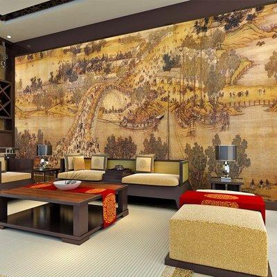 佩奇壁纸清明上河圖壁畫中式復古客廳電視背景墻紙中國風書房茶樓餐廳壁紙小猪佩奇