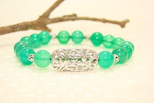 綠寶石手環˙Jill&Joe獨家設計 手作天然寶石好時尚.日本彈性絲線.白K金屬珠.抗過敏