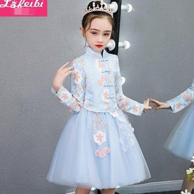 婚禮洋裝 女童唐裝 改良旗袍 小女孩中國風古裝 兒童漢服 超仙襦裙 花童禮服 生日禮物 莎芭