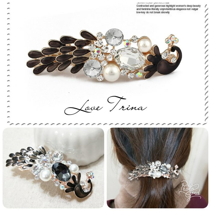 【Love Trina】9110-0127 超美滴油釉彩亮鑽孔雀自動夾 8.9cm自動夾。髮夾 -(1色)~