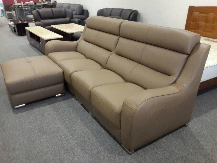 &凱迪家具&1022寶格麗深卡其色高背式四人座L型半牛皮沙發/含腳椅/台灣製造
