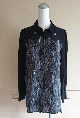 拍賣家當~GIORGIO SEDRA黑色絲質襯衫 L