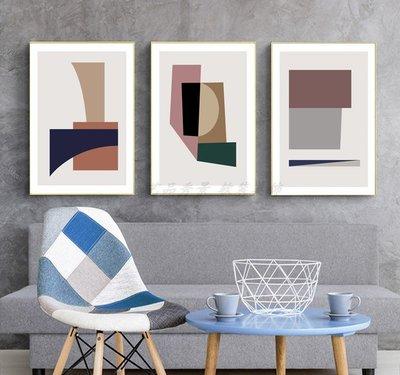 北歐現代裝飾畫畫芯高清微噴打印色彩幾何圖形藝術彩色畫心畫布(不含框)