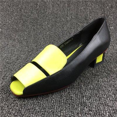 真皮女鞋夏季新款女士粗中跟淺口魚嘴涼鞋