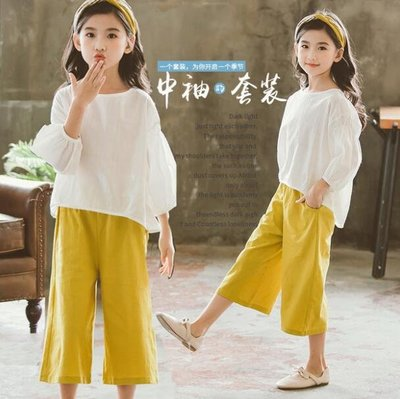 莎芭 女童套裝 童裝 兒童短袖套裝 中大童5-15歲 韓版休閑闊腿褲 寬褲 上衣 親子裝
