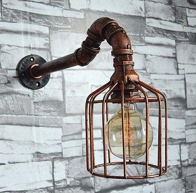 工業LOFT仿古水管壁燈 創意帶帽燈頭...