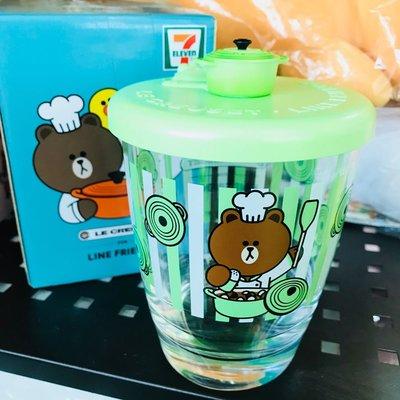全新 7-Eleven 7-11 Line Friends Brown 熊大 草綠色 連蓋玻璃杯 現貨 (可旺角門市自取)