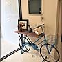 立體大型藍色仿舊腳踏車花架 落地三輪車自行...