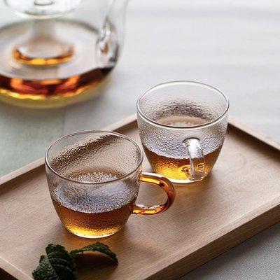 【蘑菇小隊】玻璃杯 錘目紋玻璃茶杯家用透明耐高溫帶把咖啡杯加厚喝水杯子 AW1485【棉花糖伊人】-MG42685