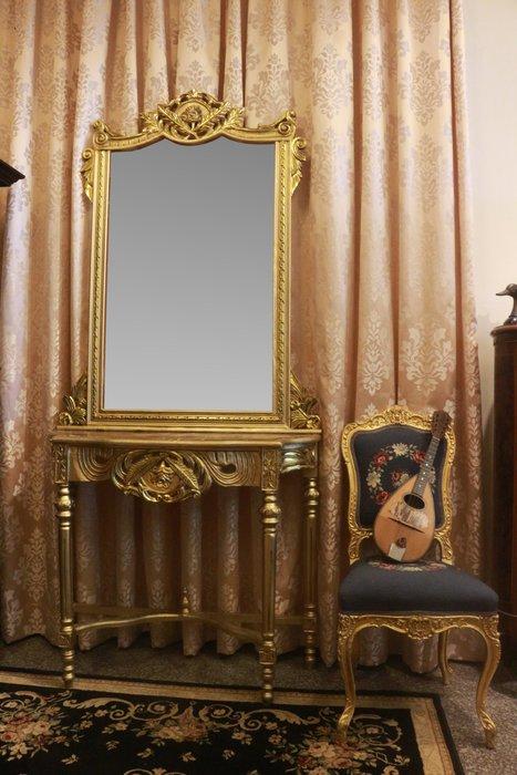【家與收藏】超值特價極品稀有珍藏歐洲古董法國凡爾賽華麗巴洛克手工雕花大理石大玄關桌鏡4