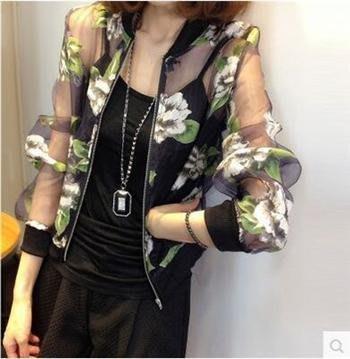 ღWild at Heartღ(現貨黑底綠花XL)1227564春夏新款女裝歐根紗印花防曬衣棒球服衫短外套女