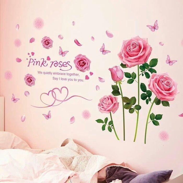 粉紅玫瑰精品屋~高檔3D立體仿真粉色玫瑰裝飾貼紙~