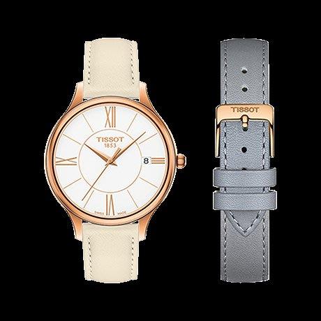 Tissot 天梭臻時系列皮帶石英女腕錶 T1032103601800