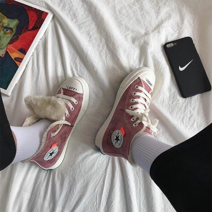 小尤家~高幫鞋女新款冬韓版ulzzang潮嘻哈女鞋子學生帆布鞋加絨棉鞋