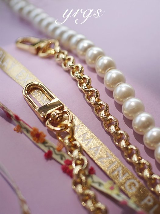 淘淘樂-【一人故事 】高端美少女18k金色純銅包鏈配件老花包包帶斜挎鏈條
