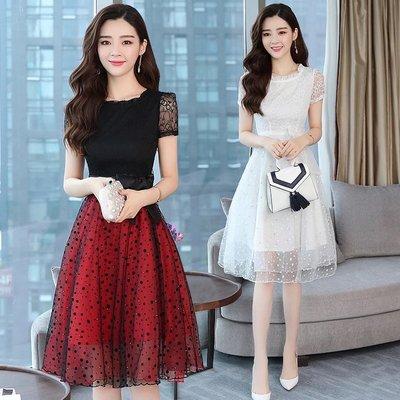 *Angel  Dance*短袖洋裝(3色)@韓國 小禮服 蕾絲 網紗 波點 鏤空 雕花 寬鬆 大尺碼 顯瘦@現貨+預購
