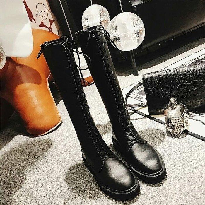 【火熱實拍🔥】秋冬新款馬丁靴 長靴 英倫擊帶高筒靴粗跟 加絨 長筒靴騎士靴子【35-40】