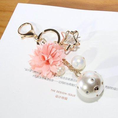 【FAT CAT HOUSE胖貓屋】韓國玫瑰花珍珠鑰匙扣 花吊飾 精美鑰匙圈 飾品 掛件 掛件 生日禮物-現貨