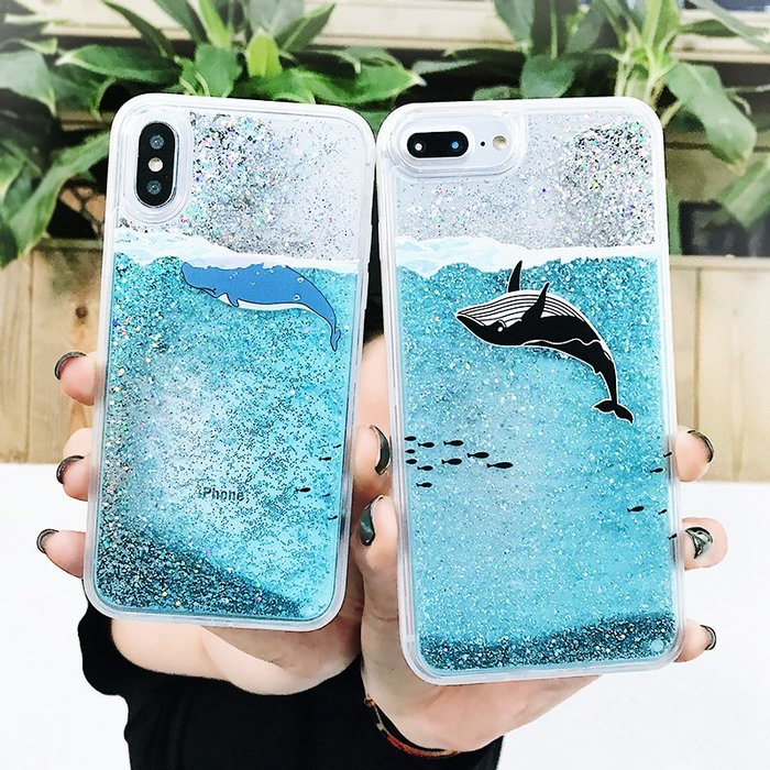 iphone x 殼 xr手機殼ins夏天流沙鯨魚iPhoneX/7/8plus手機殼蘋果XsMax液體流動6sp硬Xr