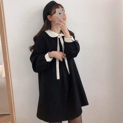 【ZEU'S】韓國秋裝學院風綁帶洋裝『 11219647 』【現+預】KA