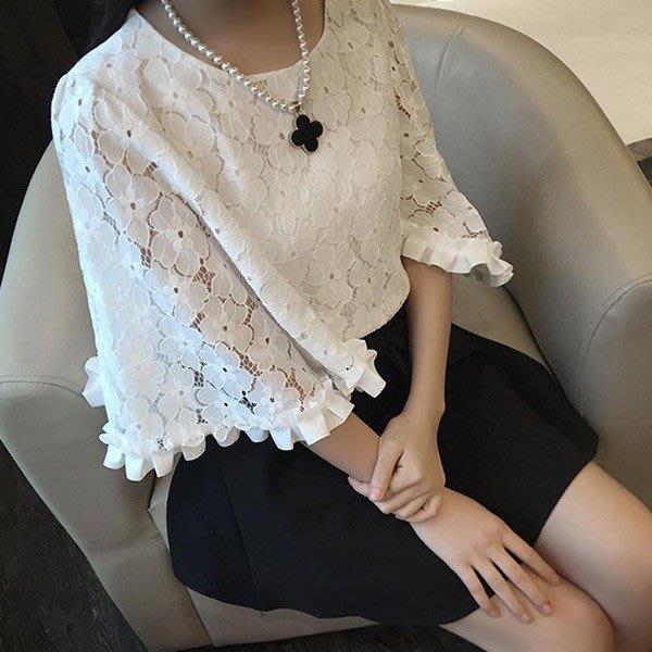 2016春夏新品女装韓版蕾絲喇叭袖娃娃衫上衣性感寬鬆雪纺衫七分袖