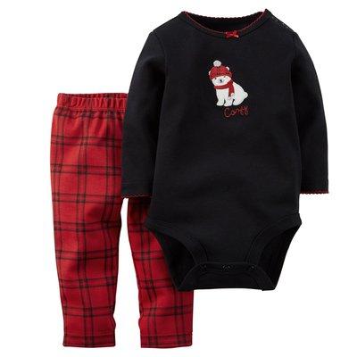 [[W&R]] ((0-24m)) Carter's 二件組北極熊長袖包屁衣+紅格子長褲 24m