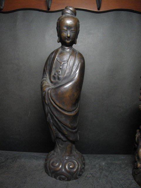 老銅雕◎ 觀音立像