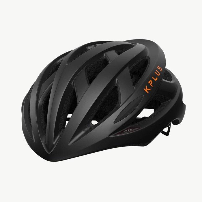 【三鐵共購】【KPLUS】VITA S系列一般色公路競速單車安全帽-黑 / 橘
