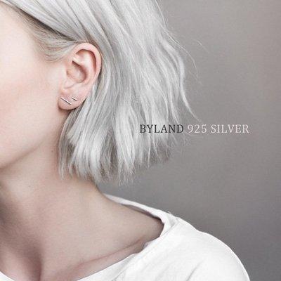 S925純銀耳釘歐美韓國極簡氣質一字耳釘小圓棍小錘子防過敏耳環TW