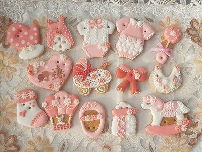 小柚子工作坊~粉紅小公主12片收涎餅乾/糖霜餅乾/婚禮小物