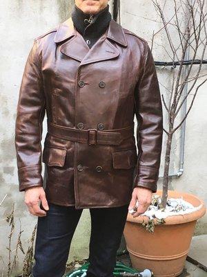 Aero Leather Mariner Coat Brown Horsehide 馬皮 短大衣