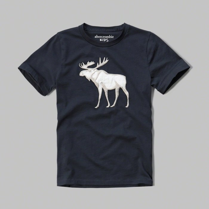 Maple麋鹿小舖 abercrombie&fitch * A&F 男童款電繡貼布麋鹿短T*( 現貨15/16號 )