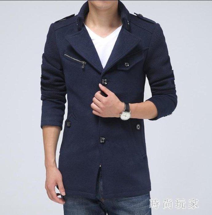 毛呢大衣 中大尺碼冬季風衣男中長款韓版修身毛呢子大衣新款男士外套潮OB641