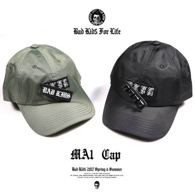 { POISON } BAD KIDS 惡童 MA-1 CAP 飛行夾克面料 雙臂章替換設計 彎沿老帽