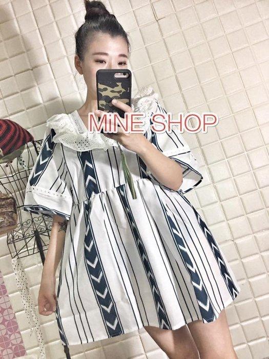 MiNE SHOP韓版甜美蕾絲花邊娃娃裙0412-1白色 現貨