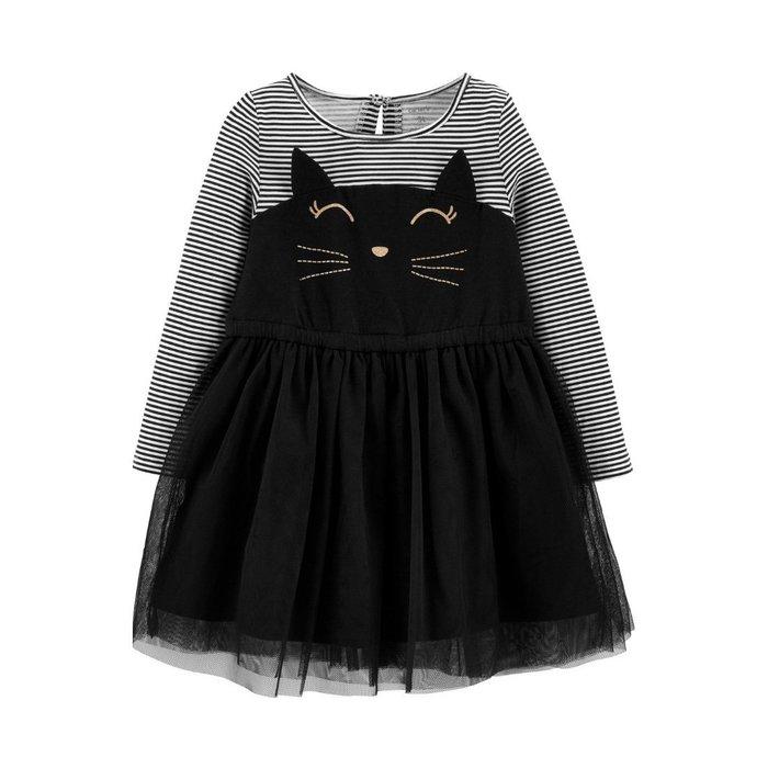 【Carter's】CS女童W洋黑白條紋貓咪 F03190828-03