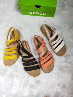全館特惠 新款 Crocs女鞋 卡駱馳特蘿莉束带凉鞋 優雅平底羅馬女士沙灘涼鞋 平底女鞋