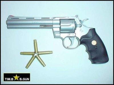 (生存遊戲6MM BB槍全民槍戰CS)~檢便宜6吋左輪槍之銀色巨蟒PYTHON357空氣槍手槍附六發彈殼