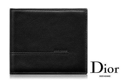DIOR HOMME►黑色真皮壓紋兩摺短夾 錢包 皮夾|100%全新正品|特價!