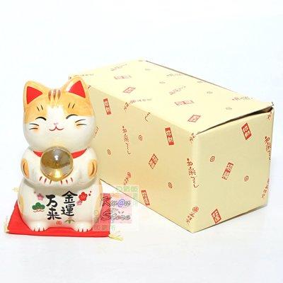 [優惠促銷] [12cm]日本製 藥師窯 彩繪金運萬來貓 招財貓 雙手捧珠~送禮自用兩相宜 居家辦公開運擺飾