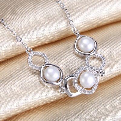 珍珠 手 鍊 925純銀手環-5.5mm鏤空鑲嵌情人節母親節禮物女飾品73qn16[獨家進口][巴黎精品]