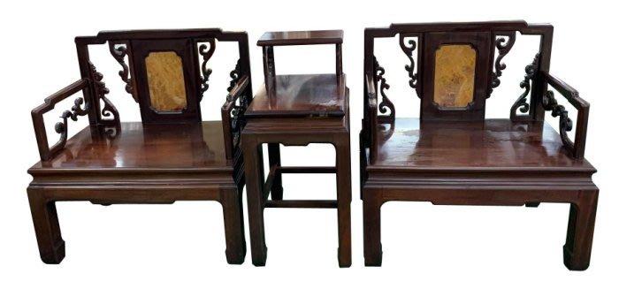 宏品二手家具泰山 TK11311*花梨木大理石1桌2椅* 2手桌椅 全新中古傢俱家電 基隆台北桃園新竹