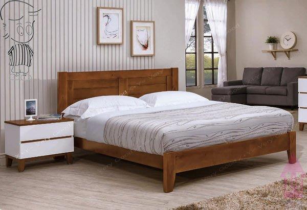 【X+Y時尚精品家具】現代雙人床組床架系列-凱西 5尺柚木色雙人床台.不含床墊及床頭櫃.實木床板.摩登家具